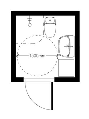 Wc-pesutila periaatekuva vapaa tila 1300 mm.