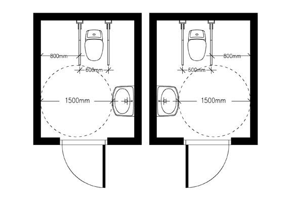 Wc-tilan lähelle sijoitetaan toinen, peilikuvana toimiva esteetön wc-tila.