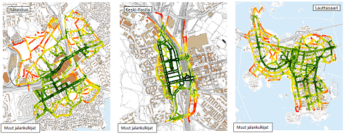 """Itäkeskuksen, Keski-Pasilan ja Lauttasaaren esteettömyysindeksin tulokset. Punaiset alueet kuvaavat heikkoa esteettömyyden tasoa, vihreät alueet kuvaavat hyvää esteettömyyden tasoa. Kuvassa näkyy """"muut jalankulkijat"""" -tutkimusryhmän tulokset."""
