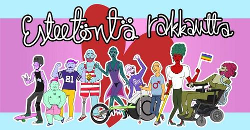 Piirroskuvassa teksti Esteetönta rakkautta. Kuvassa erilaisia ihmisiä, mm. pyörätuolissa. Helsinki Pride 2018