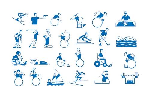 Sinisellä piirretty eri vammaisurheilulajeja mäkihypystä voimannostoon