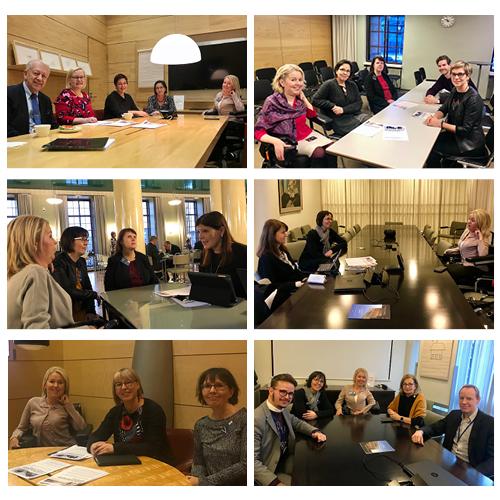 Eduskunnan sosiaali- ja terveysvaliokuntaryhmät ja Invalidiliiton yhteiskuntasuhdejohtaja Laura Andersson ja lakimies Elina Nieminen.
