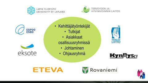 Keskellä vihreä ympyrä jossa luettelo allekkain: Kehittäjätyöntekijät, Tutkijat, Asiakkaat osallisuusryhmissä, Johtaminen, Ohjausryhmä. Ympyrän molemmin puolin Lapin yliopiston, THL:n, Invalidiliiton, Kynnys ry:n, Rovaniemen kaupungin, Eteva kuntayhtymän, Etelä-Karjalan sosiaali- ja terveyspiirin (Eksote) ja Espoon kaupungin logot.