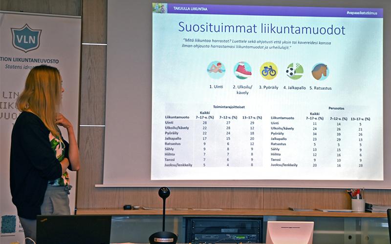 Tutkija Tiina Hakanen esittelee tutkmistuloksia suosituimmista liikuntamuodoista.