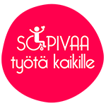 Pinkki ei ihan pyöreä pallo jonka sisällä valkoinen teksti SOPIVAA työtä kaikille niin että o-kirjain on pyörätuoli jossa istuu ihminen