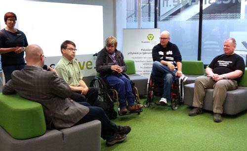 Kuopion messilive-lähetyksessä vammaiset yrittäjät keskustelevat yrittäjien tilanteesta ja tukimuodoista.