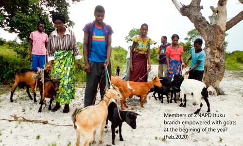 ZNAPDin Itukun branchin nuoret jäsenet ja heidän vuohensa Sambiassa. Kuvituskuva.
