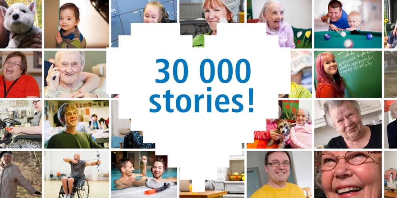 kuva jossa paljon eri ihmisiä ja keskellä sydän, jossa teksti 30000 stories